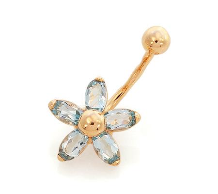 Фото«GZ-3502»Пирсинг в пупок цветок с голубыми топазами золото
