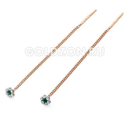 Фото«OS-36071600»Золотые серьги протяжки с фианитами