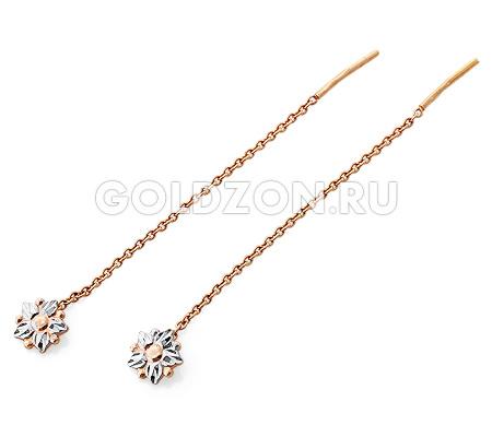 Фото«OS-8-543»Золотые серьги цепочки протяжки