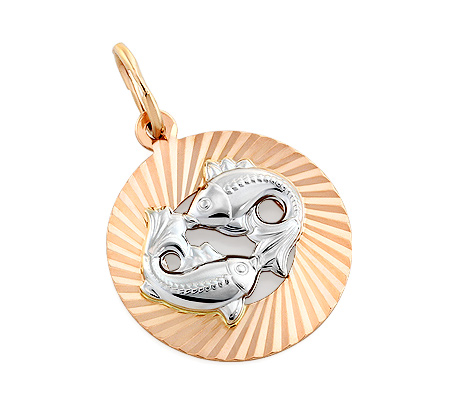 Фото«OS-P031376»Подвеска знак зодиака «Рыбы» золото