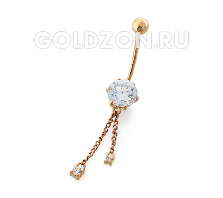 Фото«OS-P060012»Пирсинг в пупок с фианитом и висюльками золото