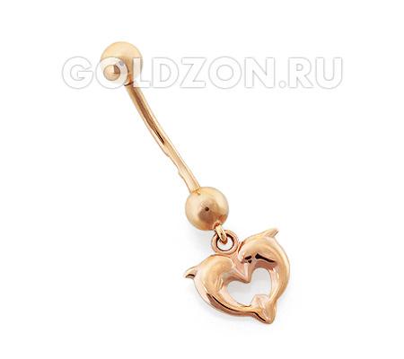 Фото«OS-P060096»Пирсинг в пупок «Сердце и дельфины» золото