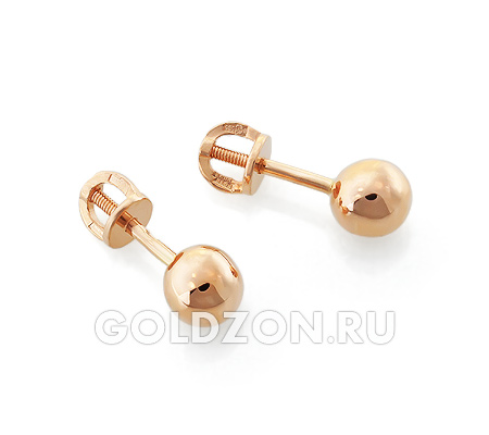 Фото«OS-S1005633»Серьги «Шары» малые из красного золота без камней