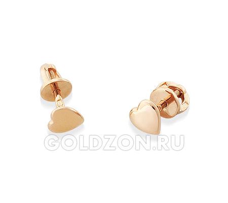 Фото«OS-S1005717»Золотые серьги «Сердечки»  без камней и вставок
