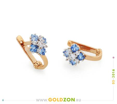 Фото«OS-S1324371»Детские серьги с голубыми камнями золотые