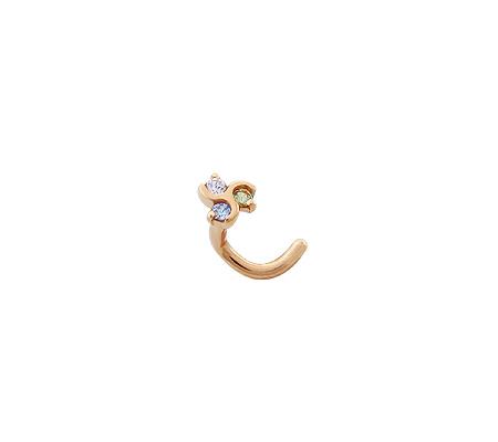 Фото«P060108»Золотой пирсинг в нос с цветными фианитами