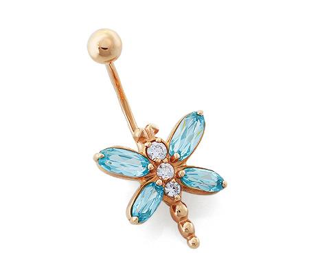 Фото«OS-P060013»Пирсинг в пупок «Бабочка» золото и фианиты