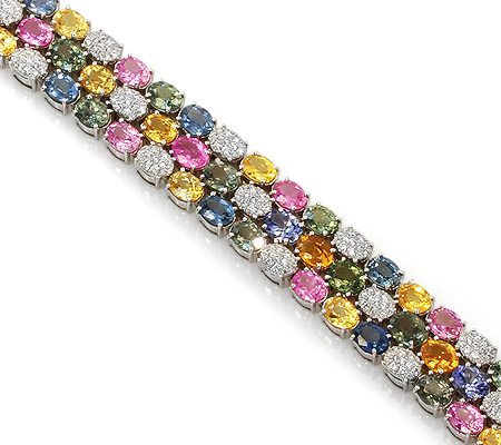 Фото«RG-0924»Золотой браслет с фантазийными сапфирами и бриллиантами