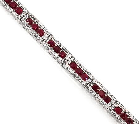 Фото«RG-0927»Женский золотой браслет с рубинами и бриллиантами