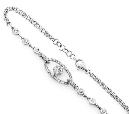 Фото«RG-0968»Женский цепочный браслет из белого золота с брилиантами
