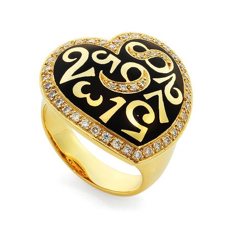 Фото«RG-0985»Перстень из желтого золота 750 пробы с бриллиантами