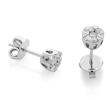Фото«RG-1047»Золотые серьги гвоздики с бриллиантами «Малинки»