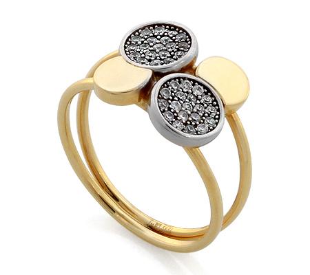 Фото«RG-1790»Золотое кольцо с цирконом желтое золото