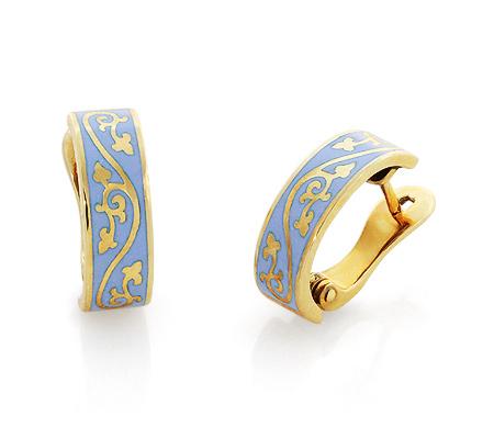 Фото«RG-1864»Золотые серьги без камней с голубой эмалью и узором