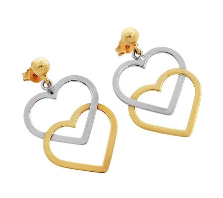 Фото«RG-1874»Серьги-гвоздики из желтого и белого золота «Два сердца»