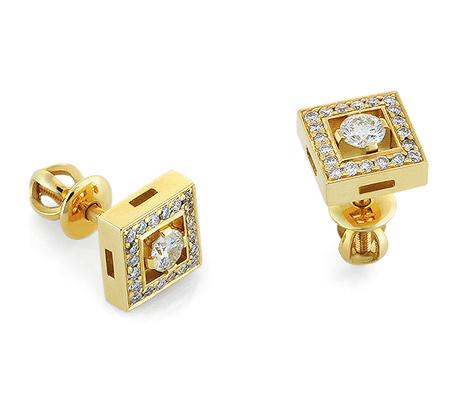 Фото«RG-2042»Серьги пусеты с бриллиантами из желтого золота 750°