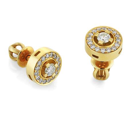 Фото«RG-2048»Серьги пусеты с бриллиантами из желтого золота 750°