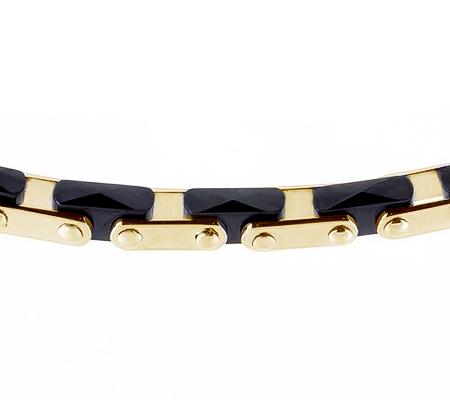Фото«RG-2210»Мужской браслет из желтого золота с кирамикой