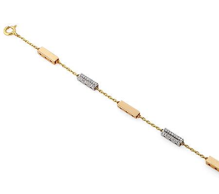 Фото«RG-2993»Золотой женский цепочный браслет с брилииантами
