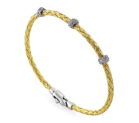 Фото«RG-3007»Жесткий женский золотой браслет с бриллиантами