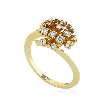 Фото«RG-3305»Золотое кольцо с бриллиантами желтое золото