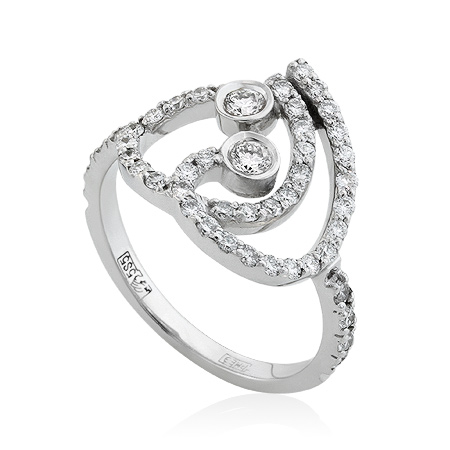Фото«RG-3309»Золотое кольцо с бриллиантами белое золото
