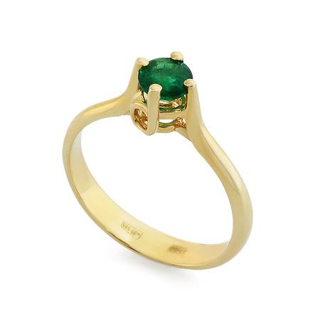 Фото«RG-3375»Кольцо из желтого золота с изумрудом