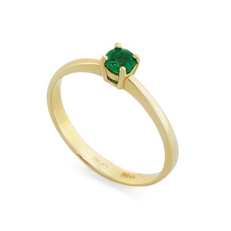 Фото«RG-3379»Золотое кольцо с изумрудом в желтом золоте