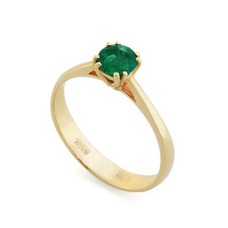 Фото«RG-3380»Кольцо с изумрудом из желтого золота