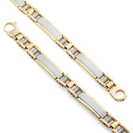 Фото«RG-3582»Золотой мужской браслет из желтого и белого золота