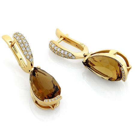 Фото«RG-4245»Серьги из желтого золота с цитрином и бриллиантами
