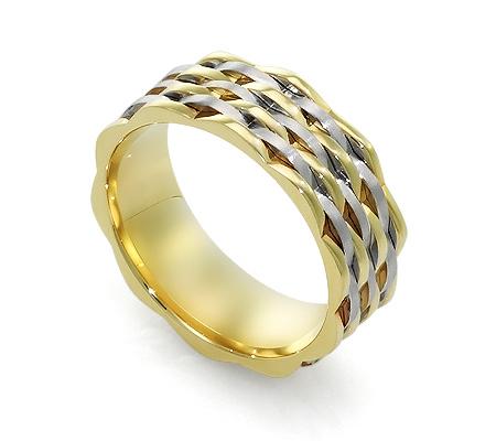 Фото«RG-DK009»Дизайнерское обручальное кольцо - двухцветное золото