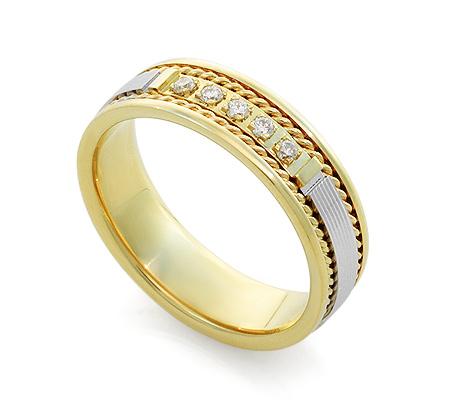 Фото«RG-V1010»Обручальное кольцо из золота дорожка с 5 бриллиантами