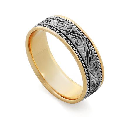 Фото«RG-V1027»Золотое обручальное кольцо с оригинальным орнаментом