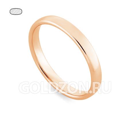 Фото«RG-W335R»Обручальное кольцо из красного золота классическое