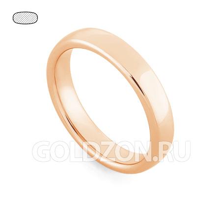 Фото«RG-W345R»Гладкое класическое обручальное кольцо красное золото