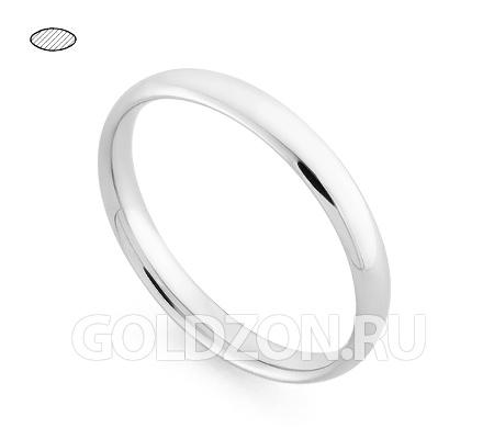 Фото«RG-W635W»Обручальное кольцо из белого золота - классика!