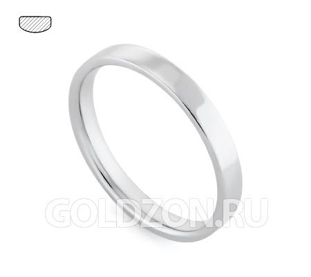 Фото«RG-W735W»Плоское классическое обручальное кольцо белое золото