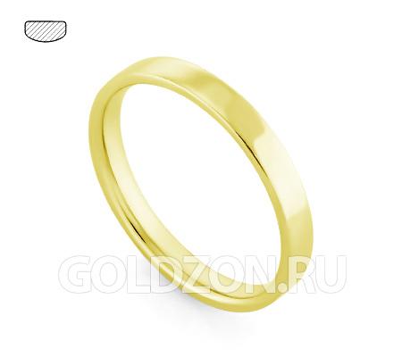 Фото«RG-W735Y»Плоское классическое обручальное кольцо желтое золото