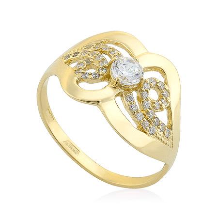 Фото«UG-2003-269»Кольцо из желтого золота с фианитами