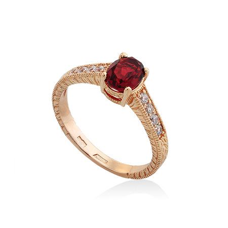 Фото«UG-2006-306»Красивое золотое кольцо с гранатом и фианитами