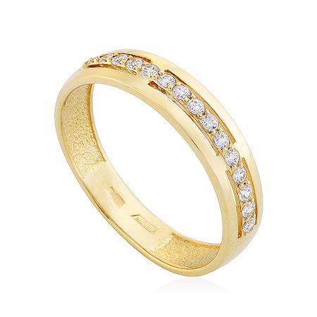 Фото«UG-2008-246»Кольцо желтое золото дорожка из фианитов