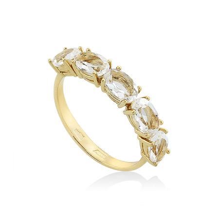 Фото«UG-2015-224»Золотое кольцо с горным хрусталём желтое золото