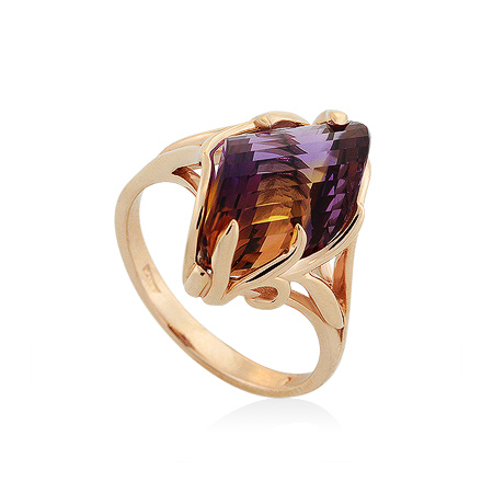 Фото«UG-2062-551»Золотое кольцо с аметрином фантазийной огранки
