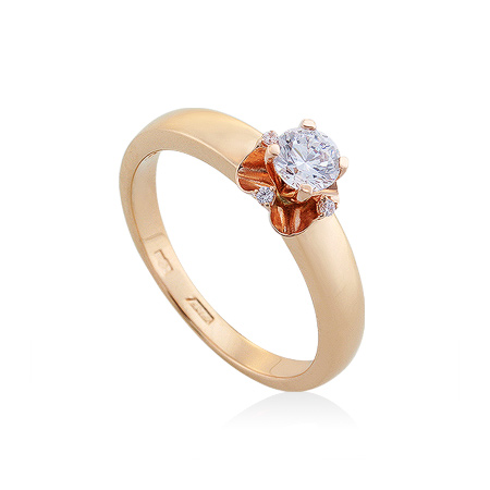 Фото«UG-2063-438»Золотое кольцо с фианитами красное золото