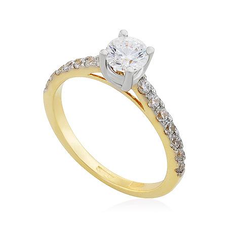 Фото«UG-2065-239»Кольцо с фианитами в жёлтом золоте