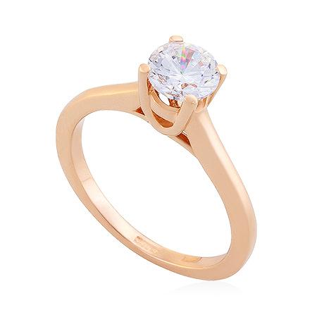 Фото«UG-2066-312»Золотое кольцо с фианитом бриллиантовой огранки