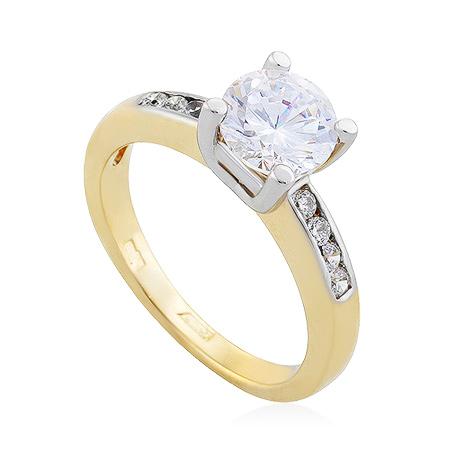 Фото«UG-2067-464»Золотое кольцо из желтого золота с фианитами
