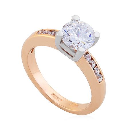 Фото«UG-2067-499»Золотое кольцо из красного золота с фианитами