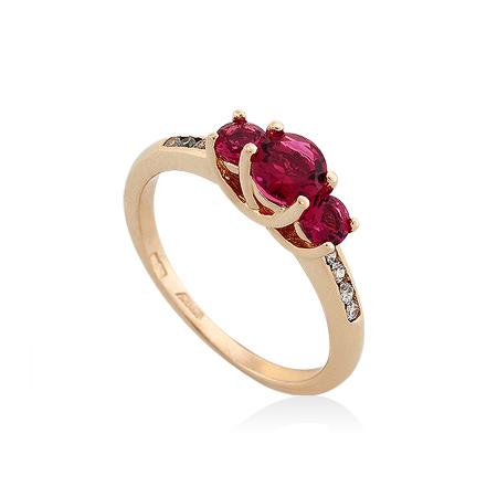 Фото«UG-2068-301»Золотое кольцо с рубеллитом  и фианитами